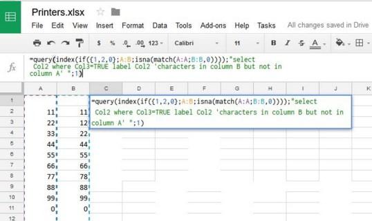 Как сравнить столбцы в Google Sheets