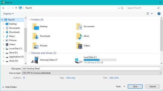 Как создать файл CSV