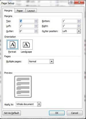 Как изменить поля страницы в Microsoft Word 2010