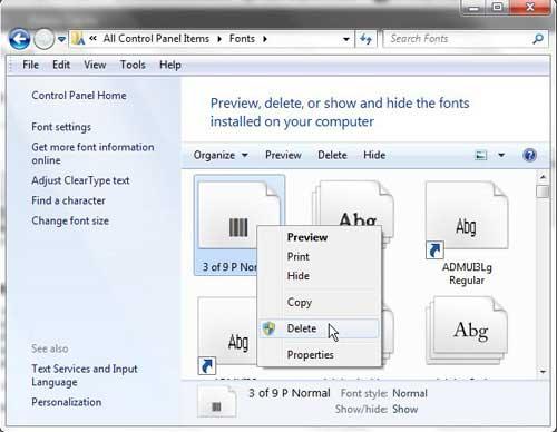Как удалить шрифт в Windows 7