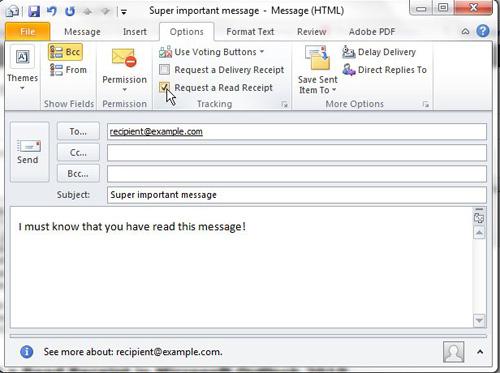 Как запросить уведомление о прочтении в Outlook 2010