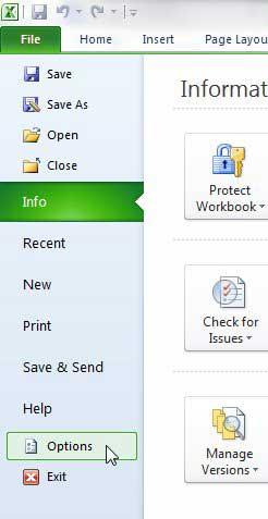 Как отображать вкладки листа в Excel 2010