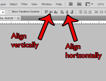 Как центрировать слой в Photoshop CS5