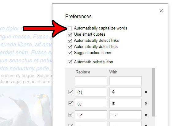 Как перестать автоматически использовать заглавные буквы в документах Google