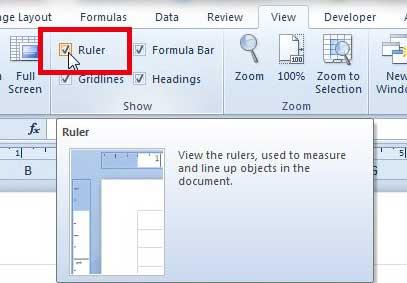 Как показать линейку в Excel 2010