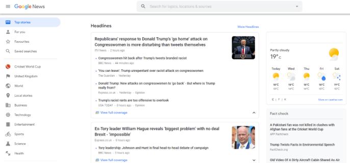 Как изменить свое местоположение в Новостях Google