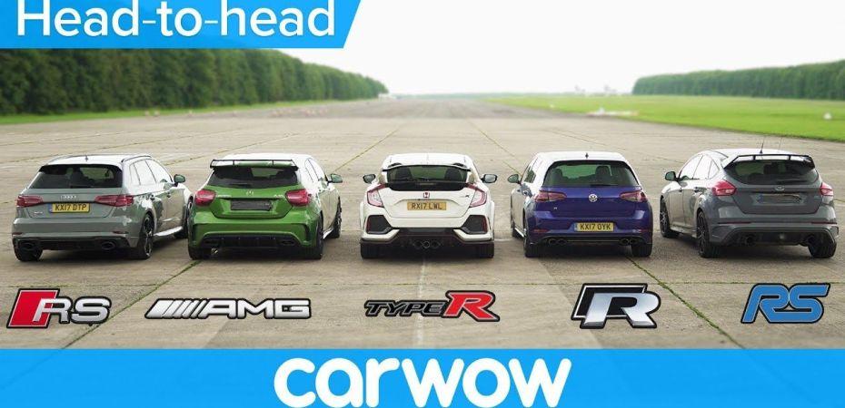 Audi RS3 против Mercedes AMG A45 и еще трех «заряженных» хетчбэков