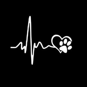 10 STKS YJZT Heartbeat Love Dog Footprints Creative Vinyl Car Sticker Decals, Maat: 13× 10.3cm (Zilver)