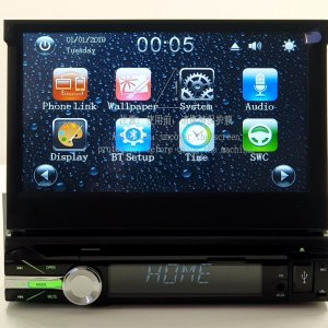 1 din autoradio met klapscherm /navigatie/phonelink /achteruitrij camera