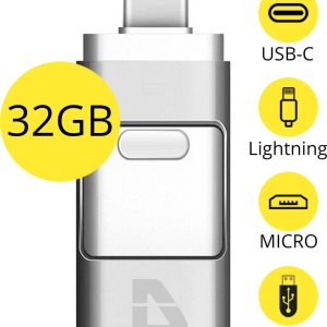 Douxe USB Stick - 32GB - Voor iPhone / iOS / Android / Windows 32GB - Flash Drive 4 In 1
