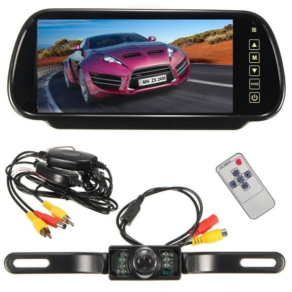 Draadloze 7 inch LCD Spiegel Monitor + IR Achteruitrij Achteruitrij Camera Backup Kit
