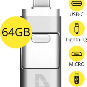 USB Stick 64GB - Flashdrive voor iPhone / iOS / Android / Windows 64GB - Flash Drive 4 In 1 - Douxe T05