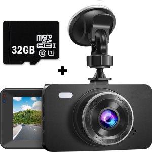 Dashvision Dashcam Voor Auto voor en achter met achteruitrij camera - Dashcam Full HD 1080P met 32GB Mini SD