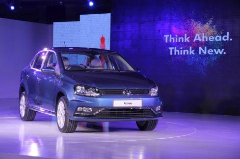 Volkswagen Ameo front three quarters unveil