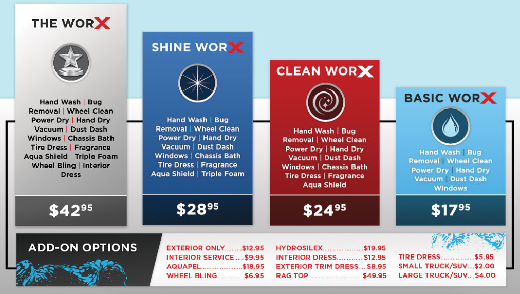 AutoworX Hand Car Wash and Detail Center Myrtle Beach SC - Wash Pricing