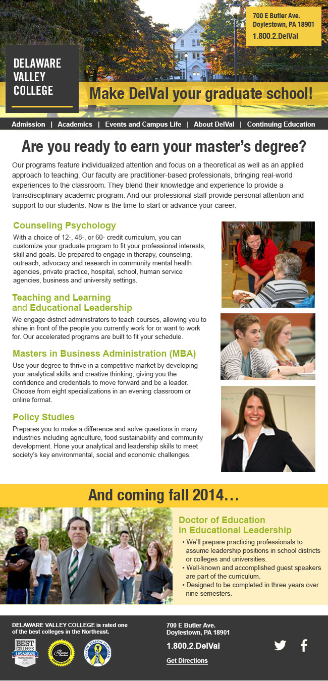 Delaware Valley College: Email Design