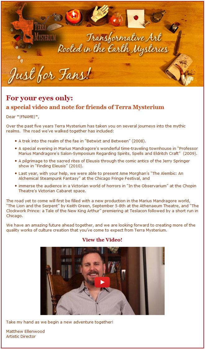 Terra Mysterium Email Design [photography, design, and development]