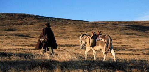 Dans la brume matinale le marcheur et son âne s'élancent vers les Cévennes.