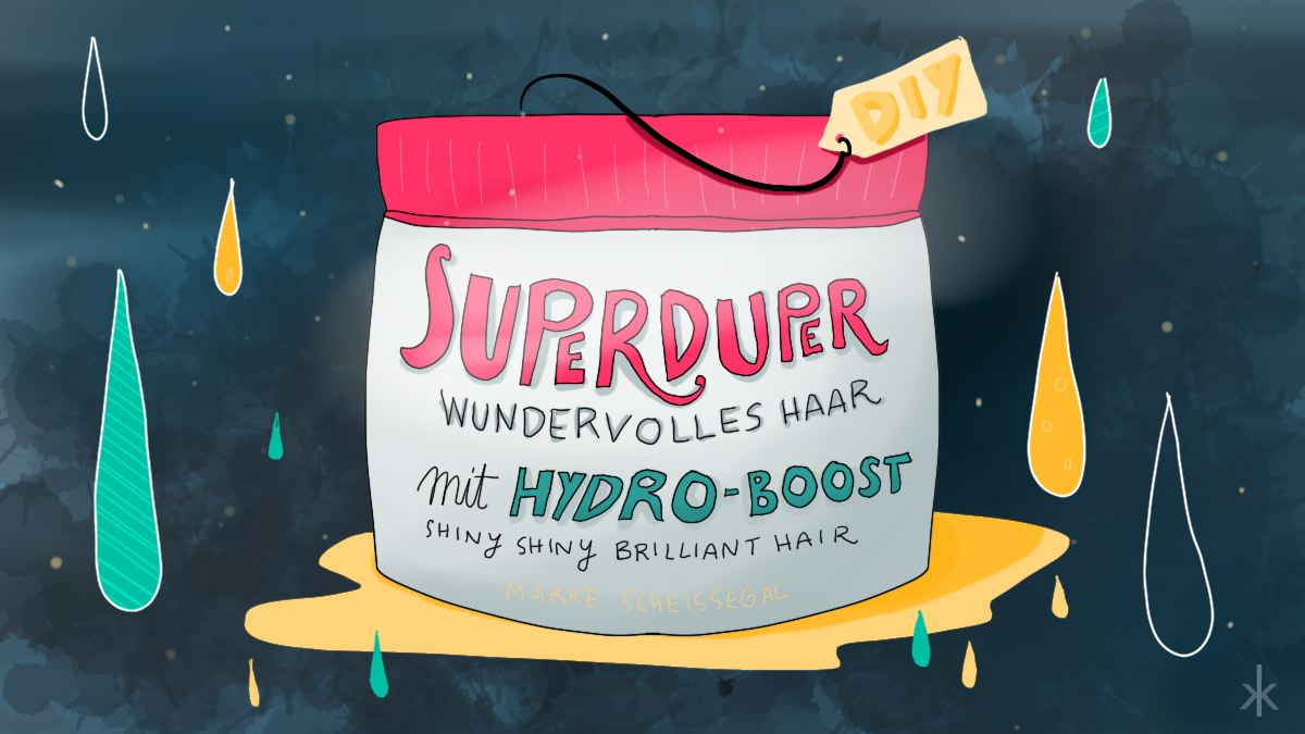 Superduper wundervolles Haar mit Hydro Boost Haarkur (Illustration)