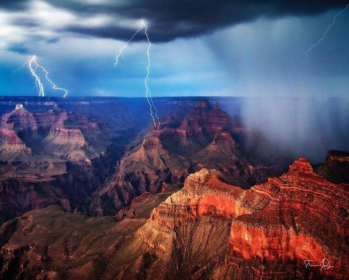 summer thunderstorm rolls over the Grand Canyon
