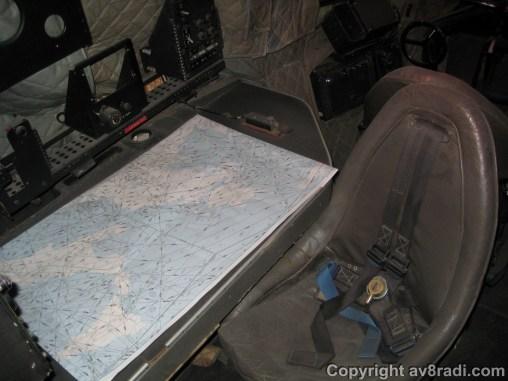Closeup of the navigator's workspace