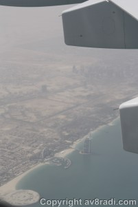 Approaching the Coastline of DXB with the infamous Burj Al Arab below us.