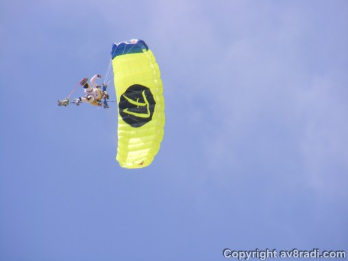 One of the skydivers wowing the crowd as he makes his way down