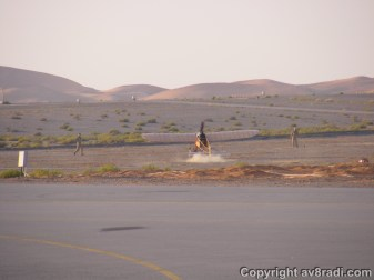 landing at the dirt strip