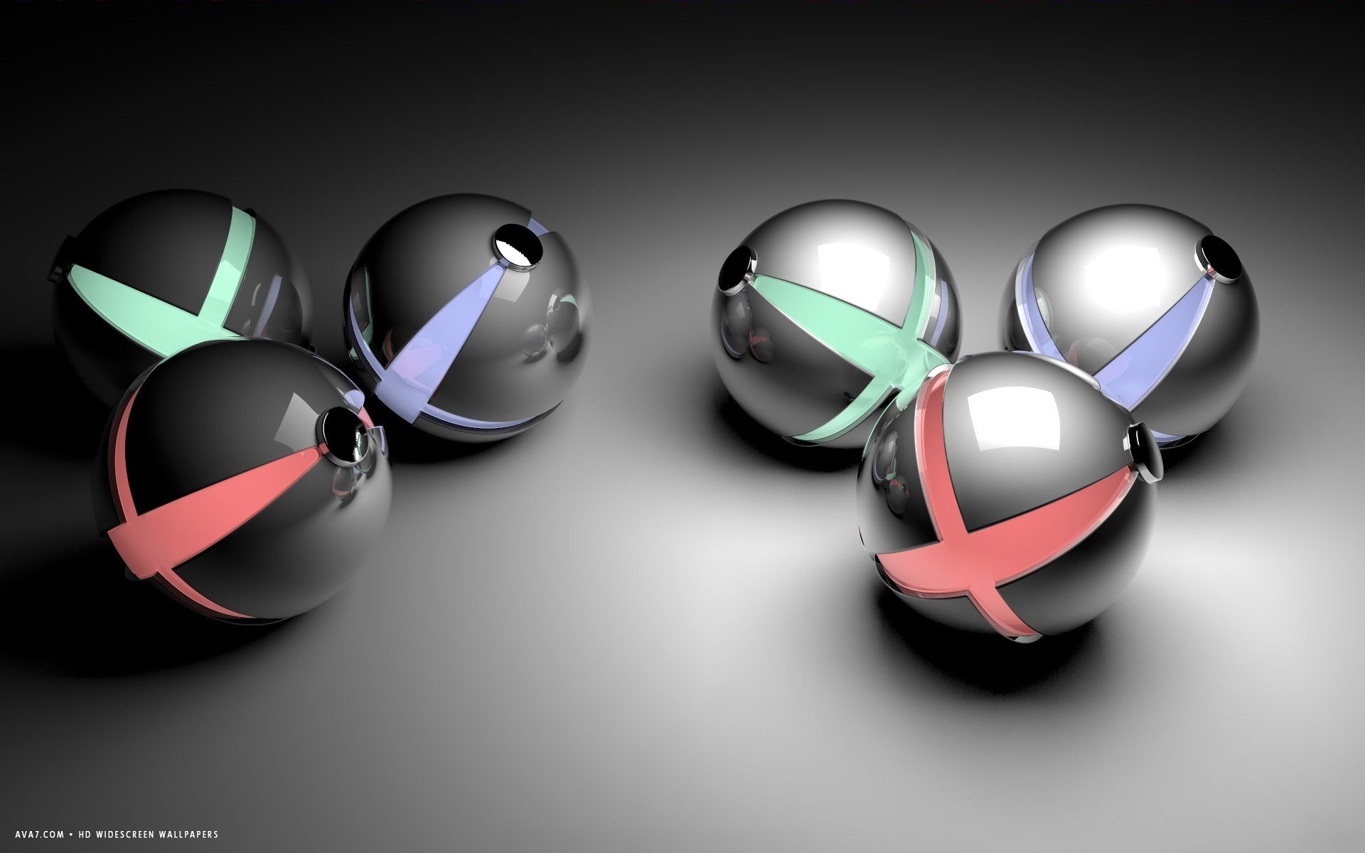 3d abstract red green plus blue reflective balls hd widescreen