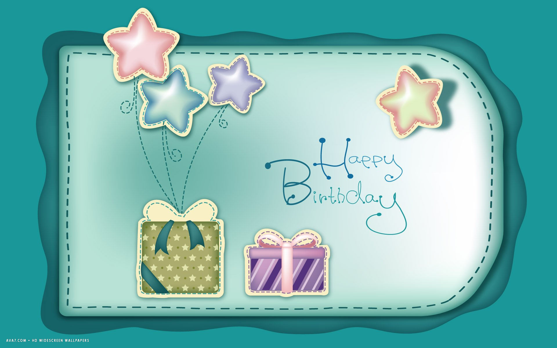 Happy Birthday Wish Stars Presents Teal Vector Art Hd Widescreen Wallpaper Holidays Backgrounds
