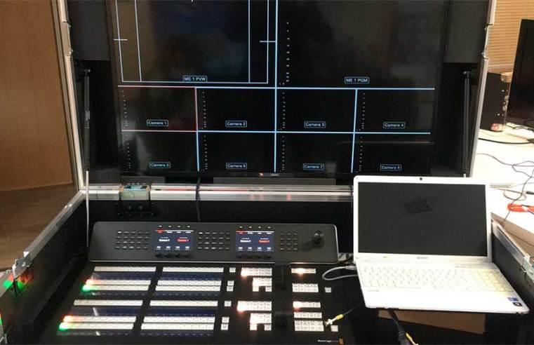 Montaje de sistema de producción móvil Blackmagic