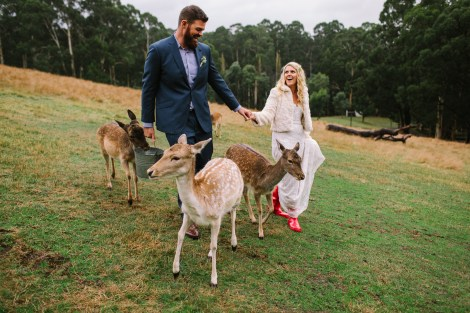 Melbourne bride and groom at gum gully farm