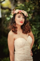 vintage asian bride with flower crown