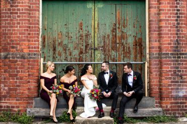 Melbourne bride groom and bridesmaids at the Abbotsford Convent