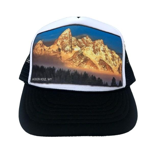 AVALON7 frosty trees Tetons trucker hat designed in Jackson Hole, Wyoming