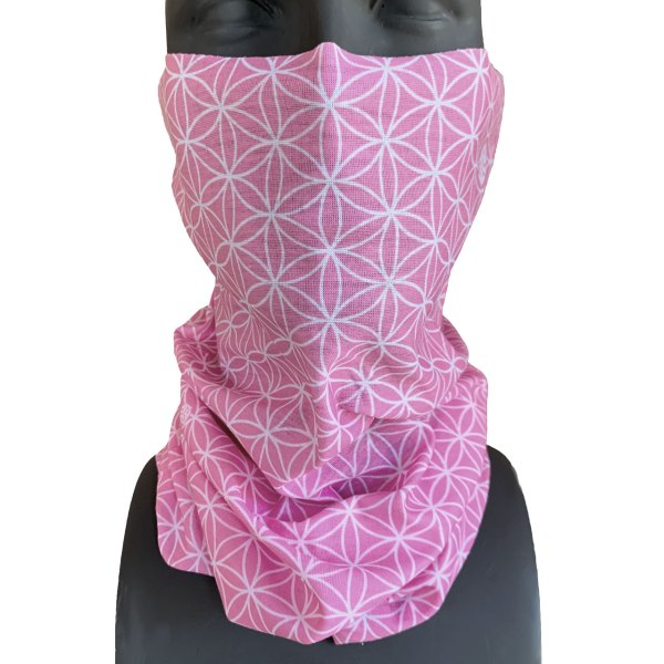 Avalon7 Flower of Life Pink Sacred Geometry Neck Gaiter Face Mask for skiing and snowboarding