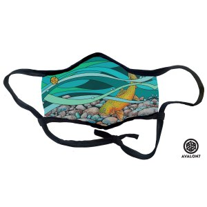Avalon7 Fitmask facemask featuring cutthroat trout art by Erin Ashlee Smith