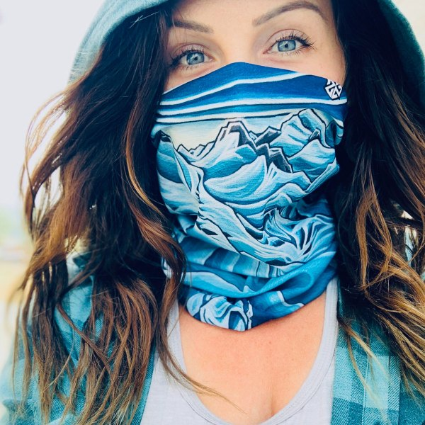 AVALON7 Neck Gaiter buff for snowboarding and skiing designed by Valerie Black