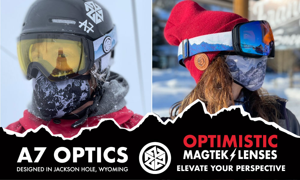 A7 Optics Magnetic Ski and Snowboard goggles with Teton Mountain desings on the straps