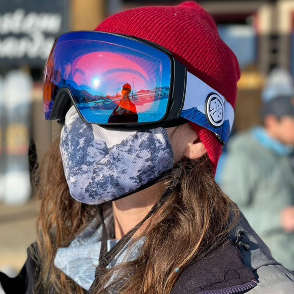A7 Optics magnetic snowboarding skiing goggle with Teton Art straps by Valerie Black