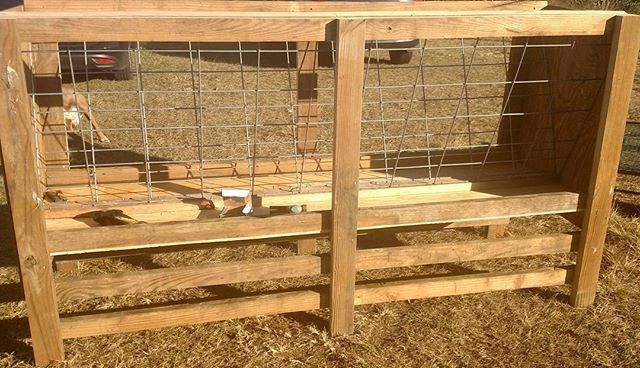 The new goat feeder at #avalon_farms, built completely out of recycled materials. Not bad for a couple of farming software nerds!