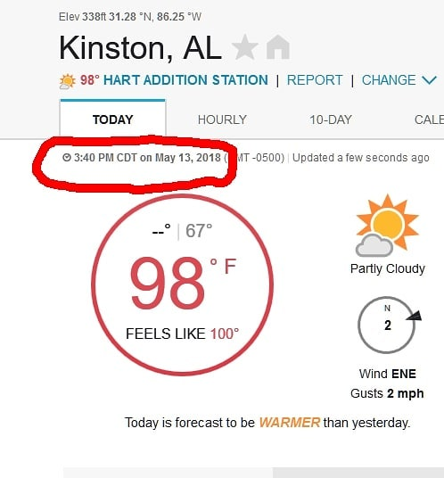 Well, that explains why it felt so hot out there!  In mid May. Yuck!