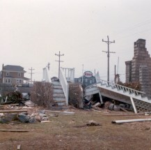 """""""Avalon, 3rd Avenue & 22. You can see Phillips Esso (George and Dee Phillips) station was behind the burned house. The story was that a boat had got adrift, floated past the burning house, thru the gas pumps and wound up across 21st."""" - Jim Thatcher"""