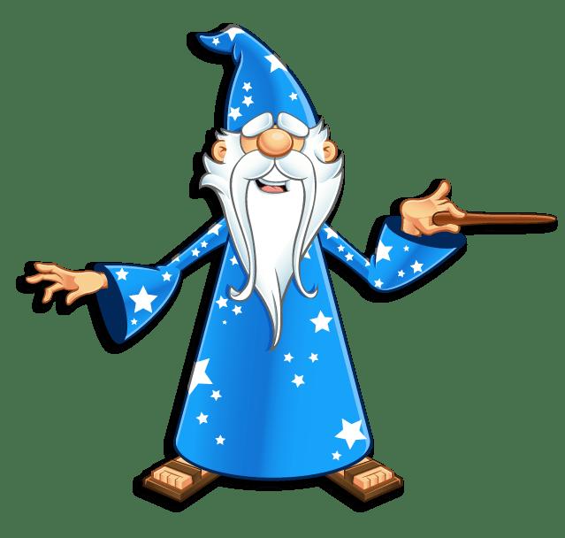 Avalon Web Designs | Merlin Web Wizard Mascot - Pointing Magic Wand Right