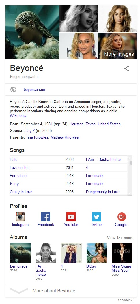 Beyonce knowledge panel serp