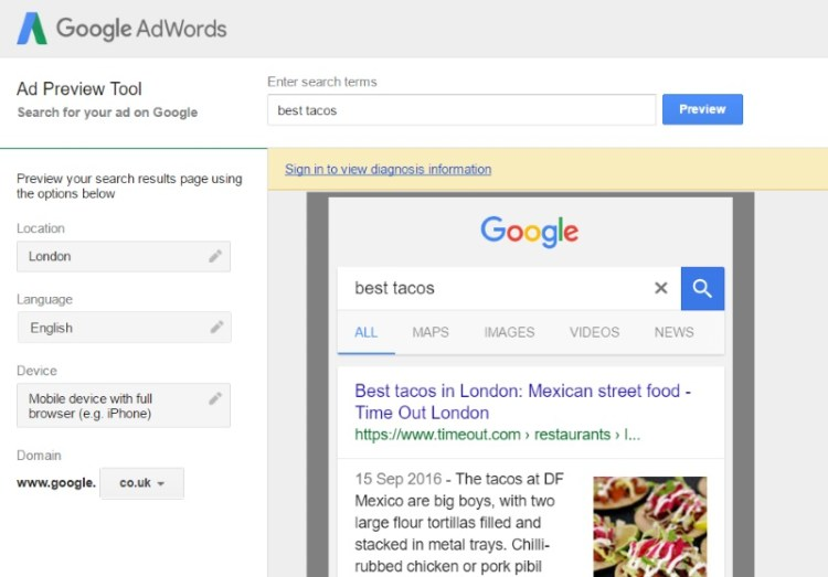 Google Adwords preview best tacos