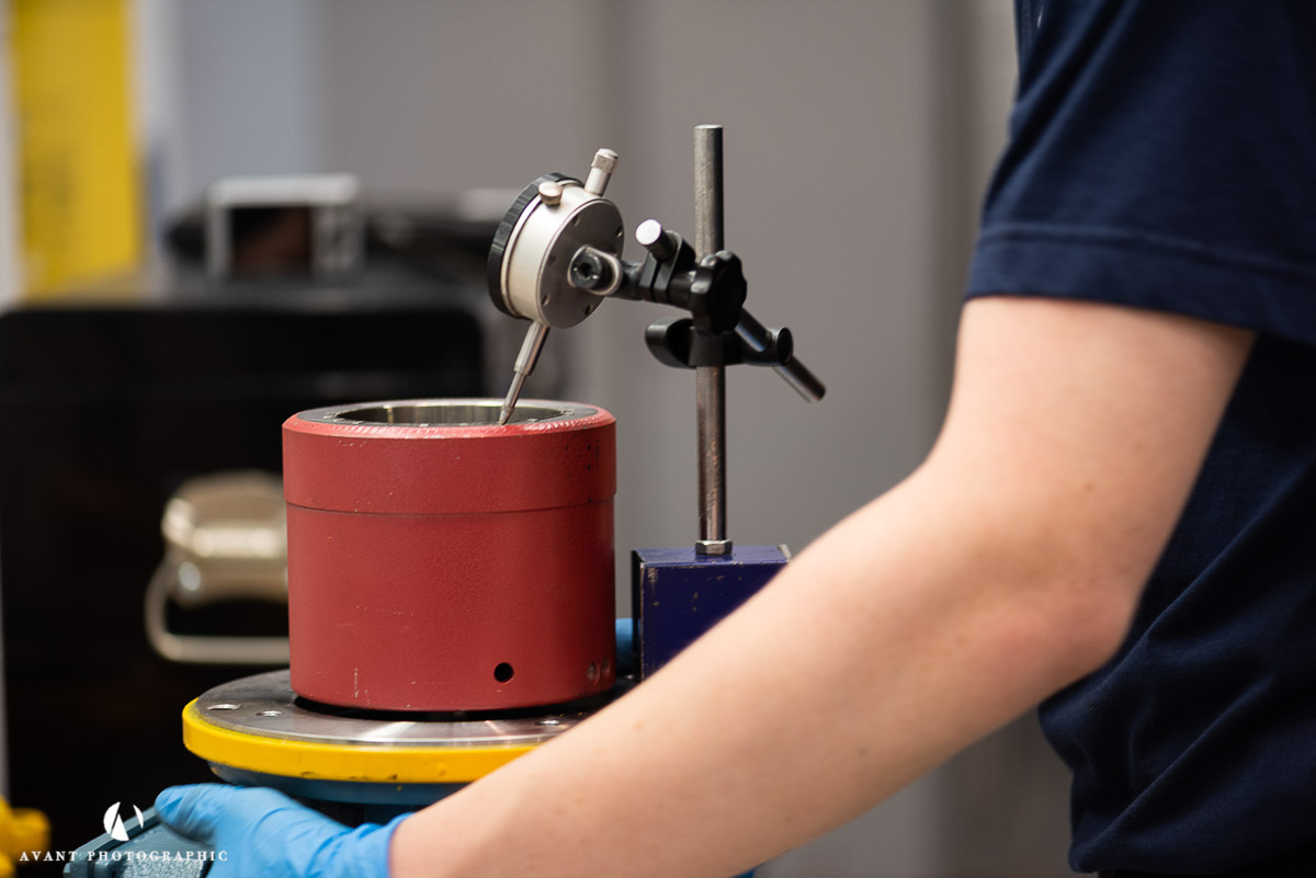 Avant Commercial photographer Phil Burrowes Day in the life photoshoot pump bearing on workbench getting precision check