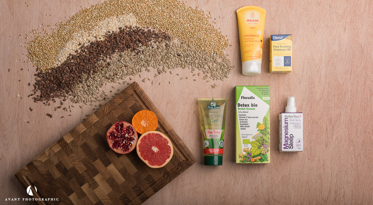Flat lay of health products with natural ingredients