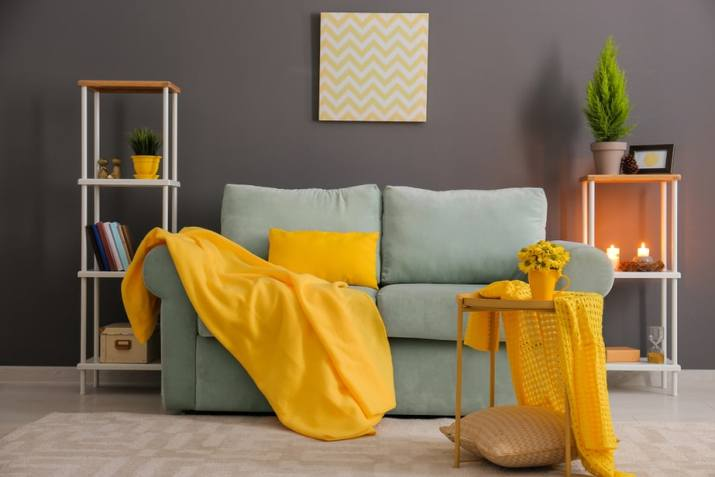 Grey Living Room with Yellow Decorations