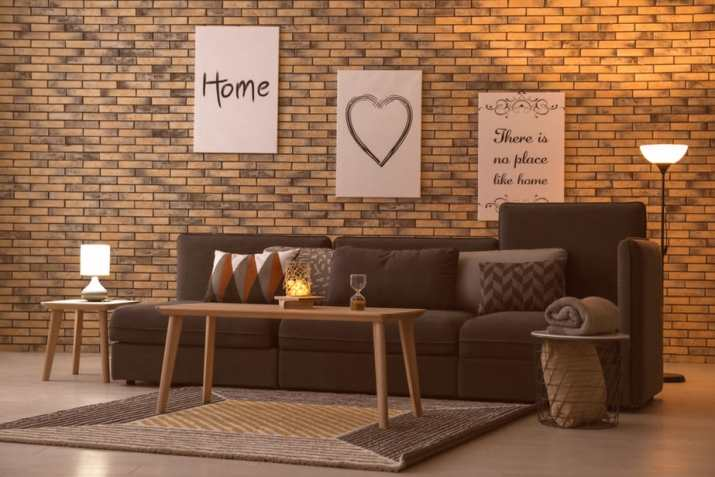 Homey Ambiance in Brick-Inspired Living Room